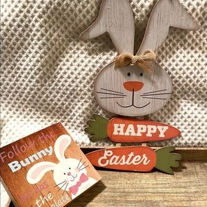 2 easter bunny wall decor signs
